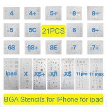 2-21 pces conjunto completo de alta qualidade ic chip bga reballing estêncil kits para iphone 11 pro x xs max xr 8p 7 plus 6 s 6 se 5S 5c 5 4S ipad