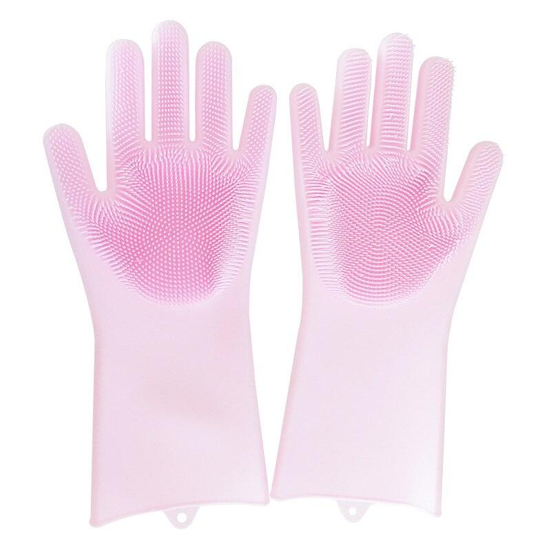 1 paire de gants de lavage de vaisselle en caoutchouc Silicone magique nettoyage écologique pour lit de cuisine polyvalent salle de bain