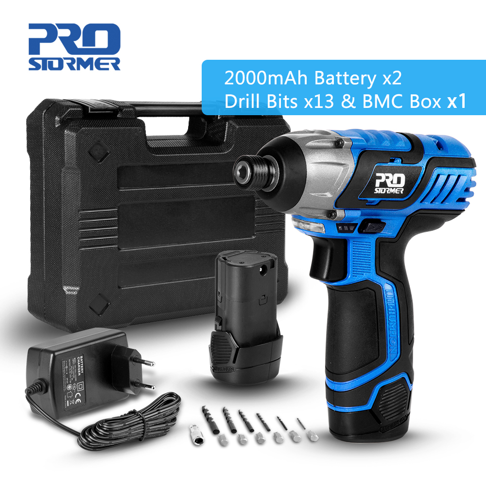 12V Cordless Screwdriver Drill Mini Wireless 2000mAh Lithium-Ion Battery Power Driver Hand Drill Home DIY Keyless by PROSTORMER