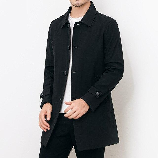 Mens Overcoat Business Casual Autumn Winter Coat Thick Windbreaker Fashion Khaki Long Trench Coat Men Xxxl 4xl Outerwear Boy Hot 3