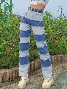 Allneon Stitch-Jeans Outfit Long-Pants Streetwear Chic Hight-Waist E-Girl Loose Fashion
