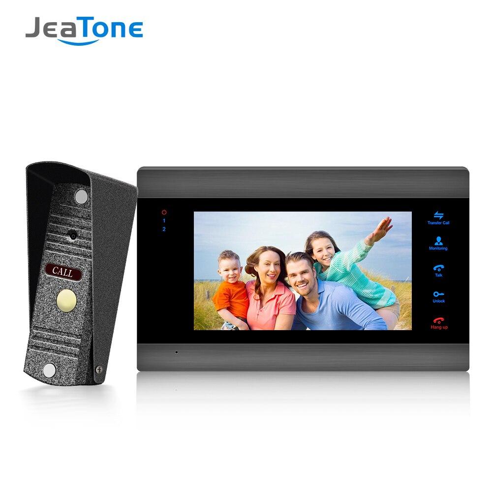 Home Intercom Video Door Phone System 7 Inch LCD Monitor With 1200TVL Silver Doorbell Camera Door Release Unlock Night Vision
