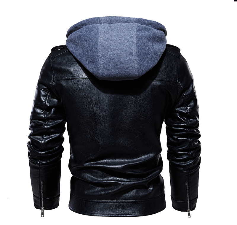 2020 Men Vintage Motorcycle Jacket Mens Outdoor Casual PU Leather Jacket Man Winter Coat Hooded Collar Club Bomber Jackets 3
