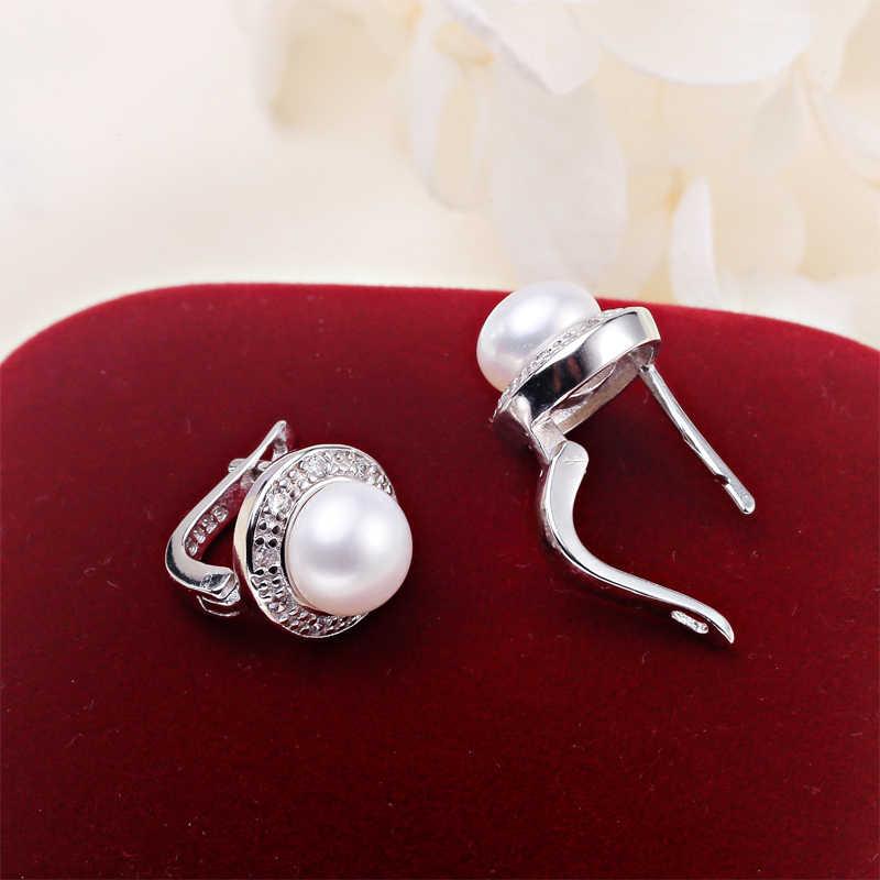 ZHBORUINI 2017 Mới Trân Earrings 925 Sterling Silver Trang Sức Bạc Cổ Điển Phong Cách Tự Nhiên Ngọc Trai Nước Ngọt Stud Bông Tai Cho Phụ Nữ Món Quà