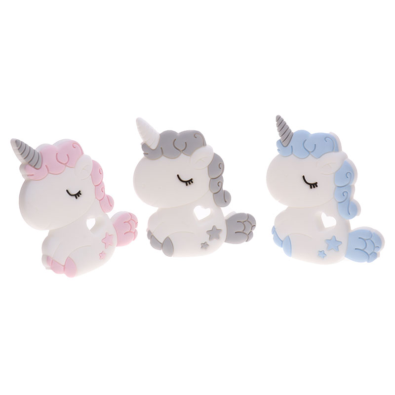 QHBC Unicorn 2pc Silicone Rodent Baby Teether Animal BPA Free Infant Teething Pendant Necklace Horse DIY Nursing Material Gift