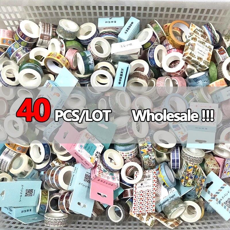 Набор случайных скотчей Washi 40 шт./лот, оптовая продажа, канцелярские товары, маскирующая лента, скотч, декоративные принадлежности