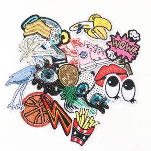 Image 5 - Mezcla de parches de planchado para ropa, parche bordado con apliques de mariposa Multicolor, pegatinas de insignia para ropa MZ421