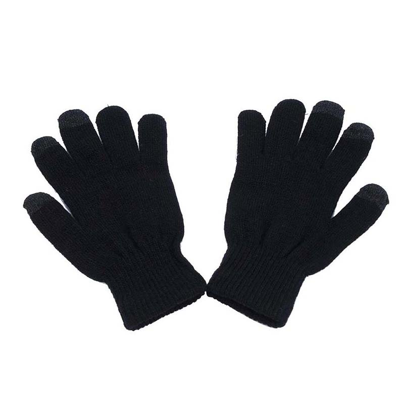 Touch Screen Soft Cotton Winter Gloves Warmer Smart For All Phones (Black)