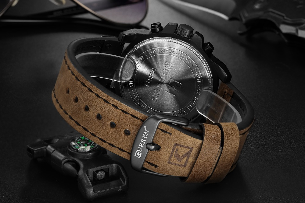 Hc03c1d0c44f84eba976618b04a083b9aT Men watch Sport Quartz Wrist Watch Man Casual Genuine Leather Waterproof Chronograph Watch Male Wristwatch Gifts For Men