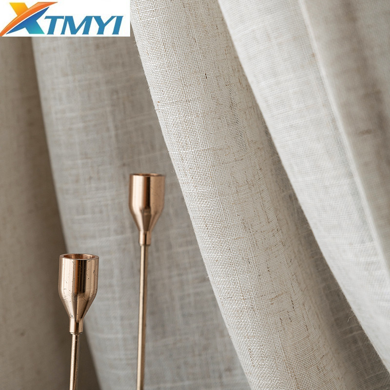 Japanese Style Brown Tulle Curtains for Living Room Cotton Linen Volie Window Treatment for Bedroom Kitchen Finished Drapes