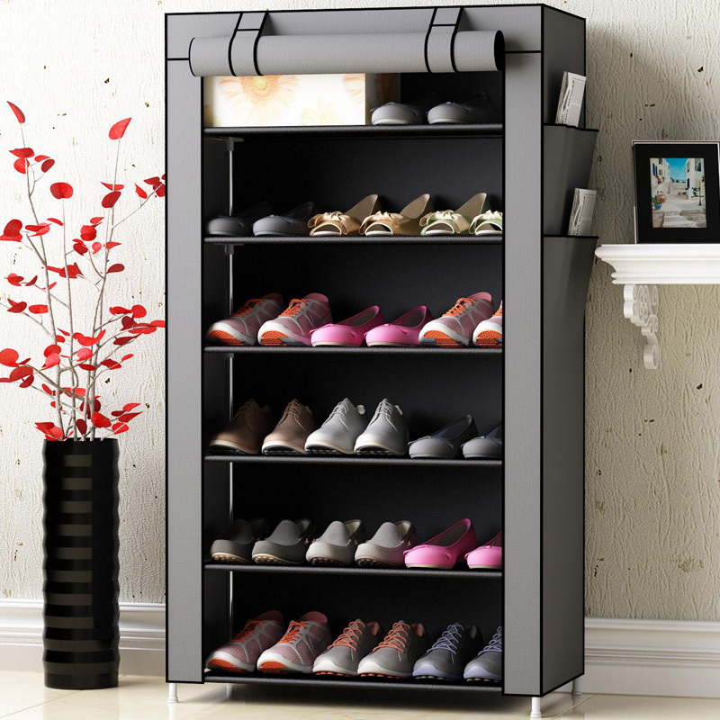 Nonwoven Shoe Cabinets Reinforced Steel Tube Home Assembled Furniture Shoe Organizer Rack Space Saver Fashion Shoe Cabinet