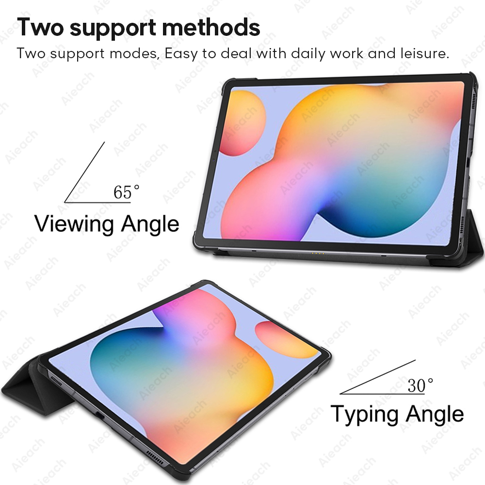 Leather Trifold Stand Case For Samsung Galaxy Tab A 10.1 2019 8.0 S5e Smart Sleep Wake Cover For Galaxy Tab S7 Plus S6 Lite Case-5