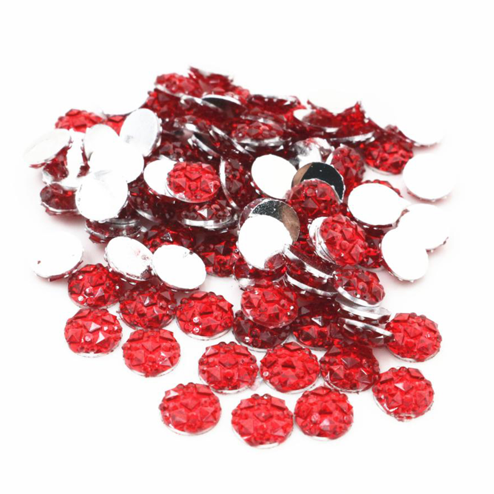 New Fashion 8mm 40pcs Red Colors Natural Baroque Style Flat Back Resin Cabochons For Bracelet Earrings Accessories-V2-26