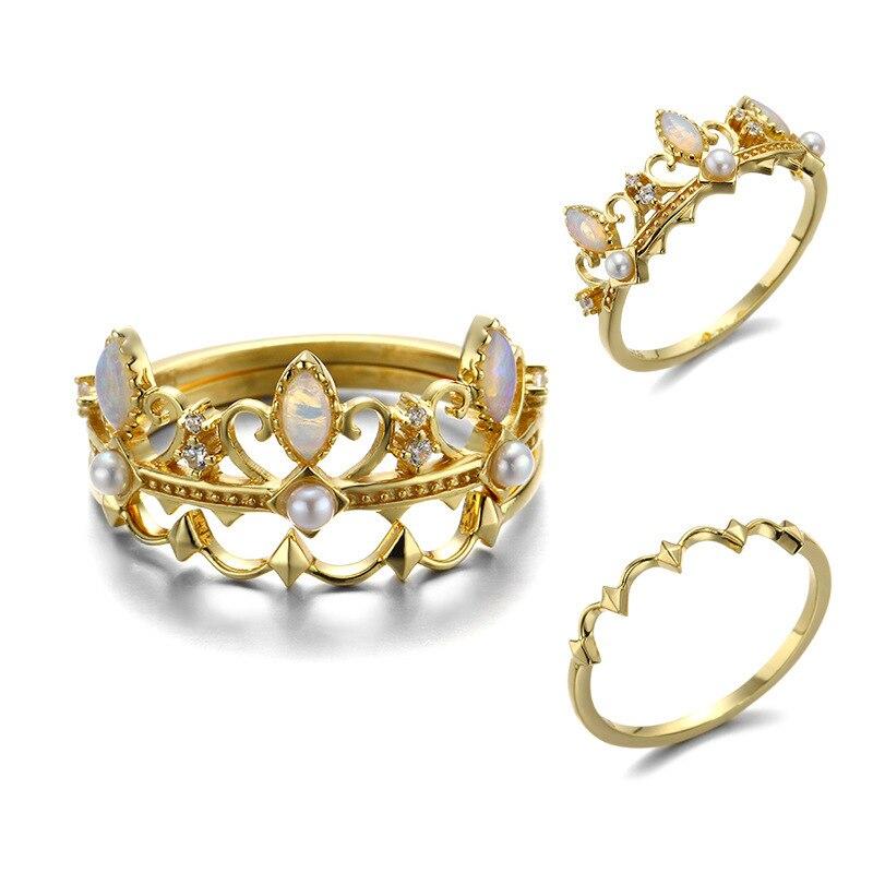 Conception originale 925 argent sterling opale naturelle perle couronne anneaux pour femmes cadeaux de mariage bijoux fins 2019