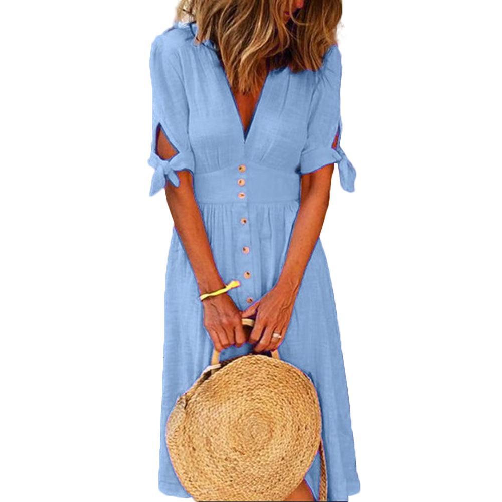Dresses Summer Women Fashion Solid Deep V Neck Tied Half Sleeve Button Party Long Dress Summer Slit Party Dresses Women Vestidos