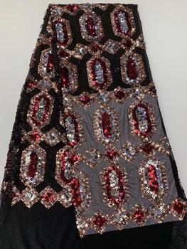 African lace Dresses For Women Nigeriane, African Textiles Lace red black, Sequins Net Lace Fabric FFR-1119