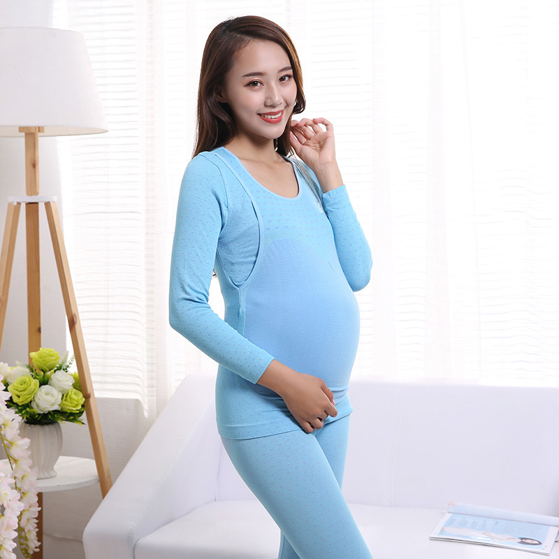 Autumn And Winter Pregnant Women Underwear Suit Feeding Thin Plus-sized Thermal Underwear Confinement Clothing Nursing Clothes