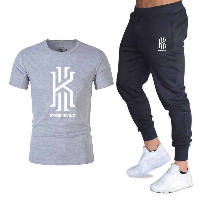 Flut marke LOGO druck männer kurzarm T-shirt mode lässig verlieren T-shirt + jogging sport hosen 2019 neue männer kleidung