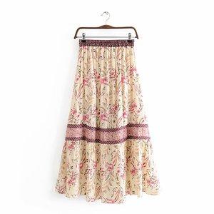 Image 2 - בציר שיק קיץ אופנה נשים פרחוני הדפסת החוף בוהמי חצאית גבוהה אלסטי מותניים מקסי סדיר אונליין Boho חצאית Femme
