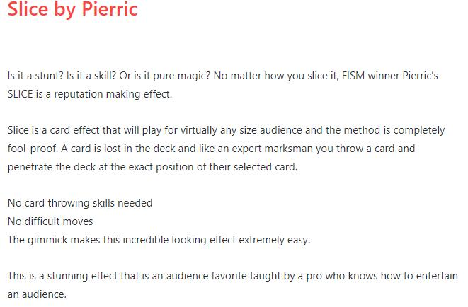 Slice By Pierric-Magic Tricks  Online Instruction