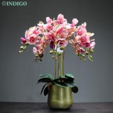 Индиго кофе пятно фаленопсис DIY цветок аранжирование орхидеи с горшком Настоящее прикосновение Свадебная вечеринка поддельные цветок декоративное событие