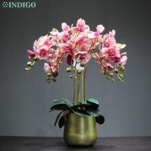 INDIGO kahve nokta Phalaenopsis DIY çiçek aranjmanı orkide Pot ile gerçek dokunmatik düğün parti sahte çiçek dekoratif olay