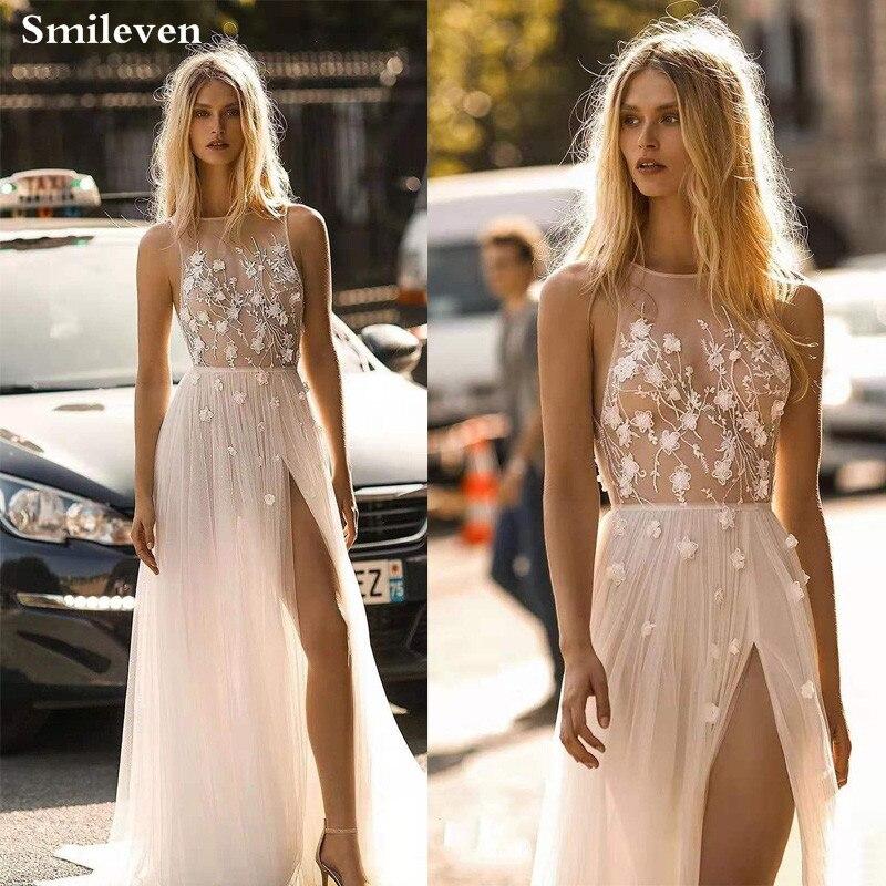 Smileven Wedding Dresses A-line 2019  Side Split Beach Bride Dresses Vestido De Casam Ento Boho Wedding Gowns