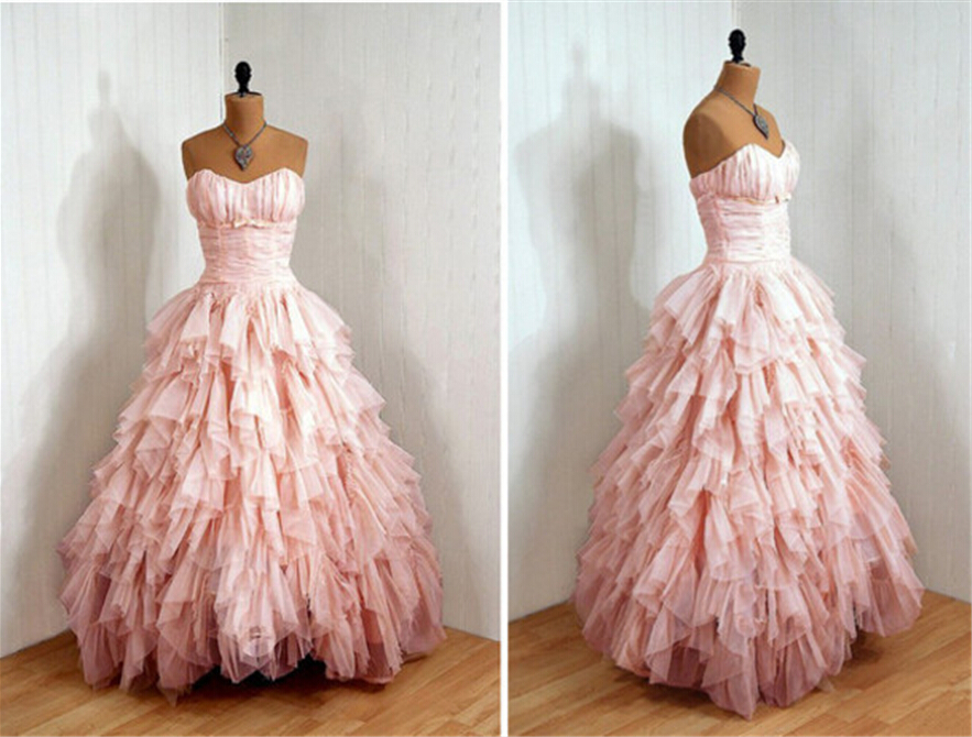 Beautiful 2018 Sweetheart Ruffled Evening Custom Vestido De Noiva Pink Long Girls Party Prom Gown Mother Of The Bride Dresses
