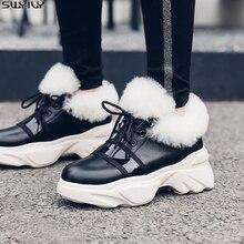 SWYIVY 35 42 zapatos de cuña de cuero genuino mujer botas de invierno 2019 botas de tobillo de plataforma botas para mujer cortas de felpa señoras botines
