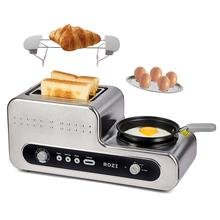 Toaster Sandwich ROZI with Pan for Hard-Boiled-Eggs Bagel In-One 2-Slots Stainless-Steel