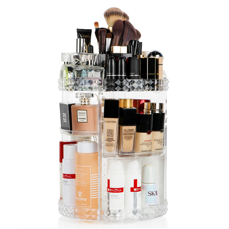Make Up Organizer Cosmetics Storage Box 360 Degree Rotation Transparent Fashion Spin Multi-Function Detachable Acrylic