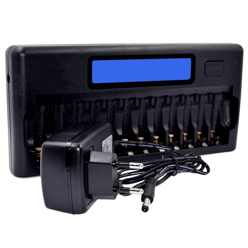 ABKK интеллектуальное зарядное устройство, ЖК дисплей, быстрое умное зарядное устройство, 12 гнезд для аккумуляторов 1,2 в, Ni MH, Ni Cd, Aaa, Aa (штепсел