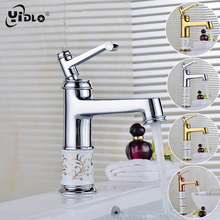 YiDLon New Deck mounted brass and ceramic faucet Bathroom Basin faucet Mixer Tap Gold Sink Faucet Bath Basin Sink Faucet CF2 flg basin faucet ceramic plate spool bathroom faucet brushed nickel deck mounted stainless steel basin faucet basin mixer ss002y