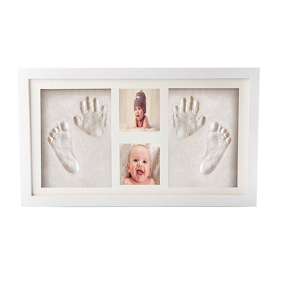 Wood Frame Clay Cute Soft Foot Mud Baby Handprint Kit Memorable Easy Apply Non Toxic Air Drying Photo Gift Inkpad