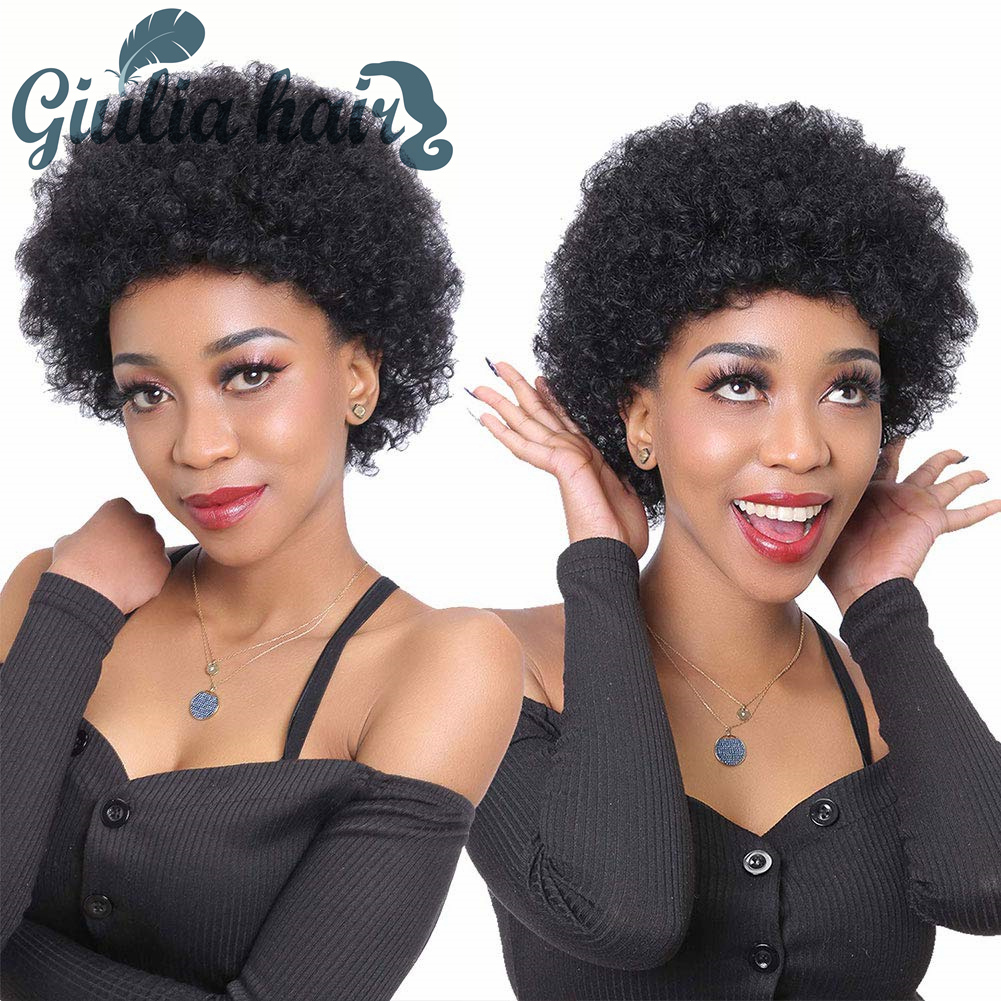 Pixie Cut Wigs Short 98% Human Hair Full Wig With Bangs Straight Perruque Cheveux Mixed Humain Brazilian wig for black women