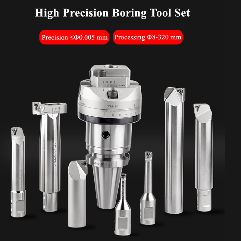 Boring 8-320mm High Precision 0.005 NBH2084 Boring Head Boring Head BT40-NBH2084X With 7Ppcs XBJ Boring Bars CNC Boring Tools