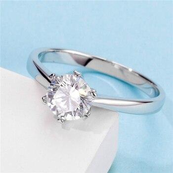 Белое Позолоченное серебряное кольцо 1ct 6,5 мм, классическое кольцо с шестигранной инкрустацией, подарок для девушки M03A
