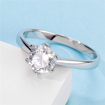 White Gold Plated 925 Sterling Silver 1ct 6.5mm Moissanites Ring