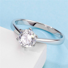 White Gold Plated silver color 1ct 6.5mm Classic six prong inlay Moissanites Ring Gift For Girlfriend M03A