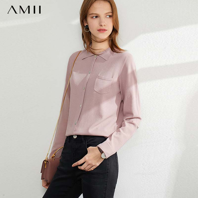 Amii Yang Air POLO Collar Sweater Women's 2020 Spring And Autumn New Sleeve Head Wearing A Long-sleeved Bottomtop Top 12037494