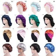 Shower-Cap Satin Bonnet Head-Wrap Hair-Styling-Cap Night-Sleep-Hat Silk Women Adjust