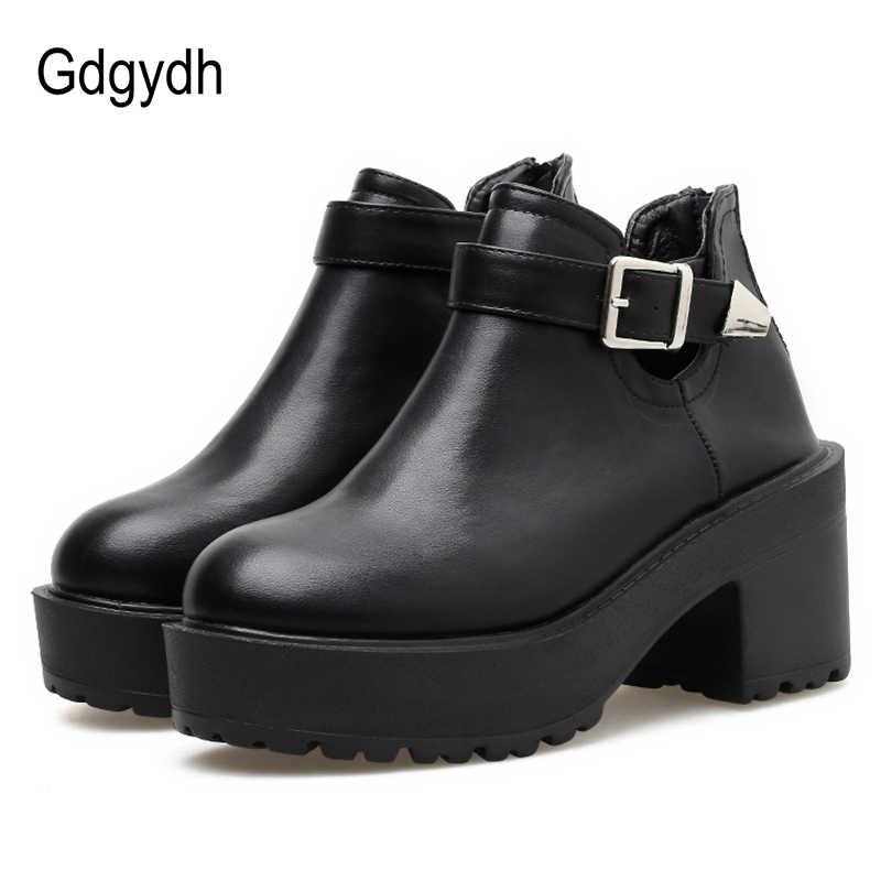 Gdgydh Moda Toka yarım çizmeler Kadınlar Için Tıknaz Topuklu Kalın Alt Ayakkabı Kadın Checlsea Çizmeler Siyah Deri Yüksek Kalite
