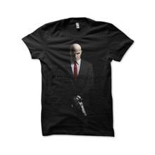 Camiseta masculina camisa t camisa hitman agente 47 preto tshirts