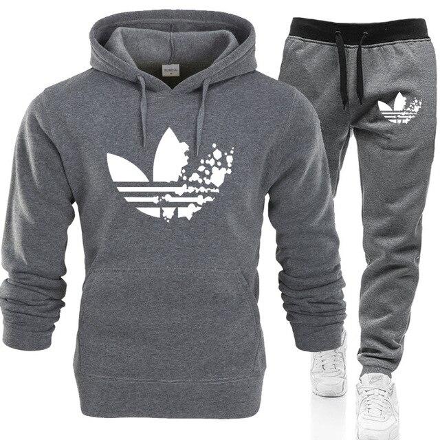 2019 New Fashion Hoodies Men Sport suit ADI Brand Sweatshirt +Sweatpants sets Casual Long Sleeve Pullover Hoodie clothing