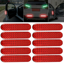 10Pcs Red Car Reflective Sticker Car Door Sticker Decal Warning Tape Reflective Strips Safety Mark Reflector Stickers warning caution mark anti collision prevention reflective open logo ho car auto motorcycle door trunk decal sticker car styling