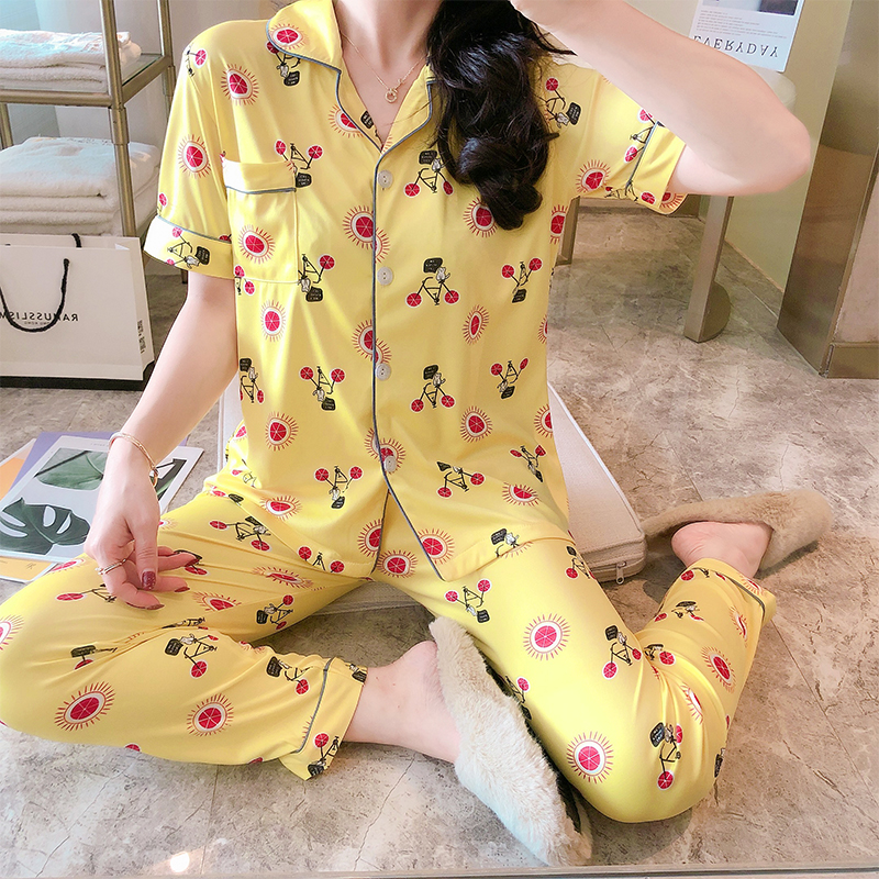 New Sale Women Home Wear 2020 Summer Short Sleeved Women Pajamas Set Long Pant Pyjamas Sets Cotton Leisure Sleepwear Set