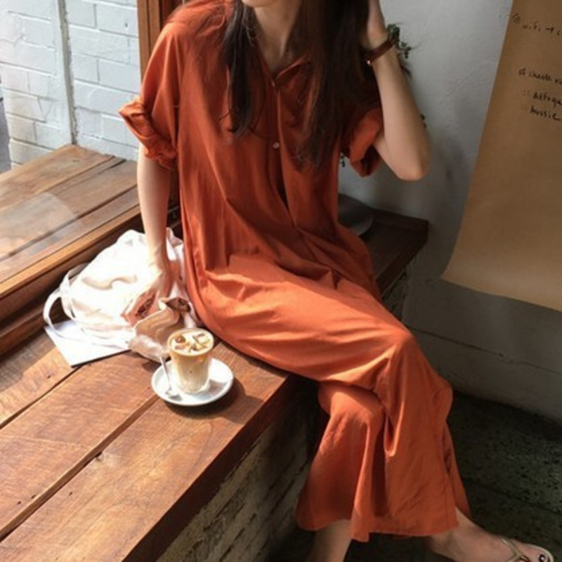 LANMREM 2020 Summer New Fashion Casual Loose Half Sleeve Stand Collar Button Wonen Mid-calf Shirt Long Dress EF425