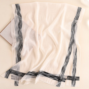 Image 4 - 2020 Solid Stripes Silk Scarf Women Soft Long Autumn Winter Scarves Fashion Shawls And Wraps High Quality Foulard Pashmina Hijab