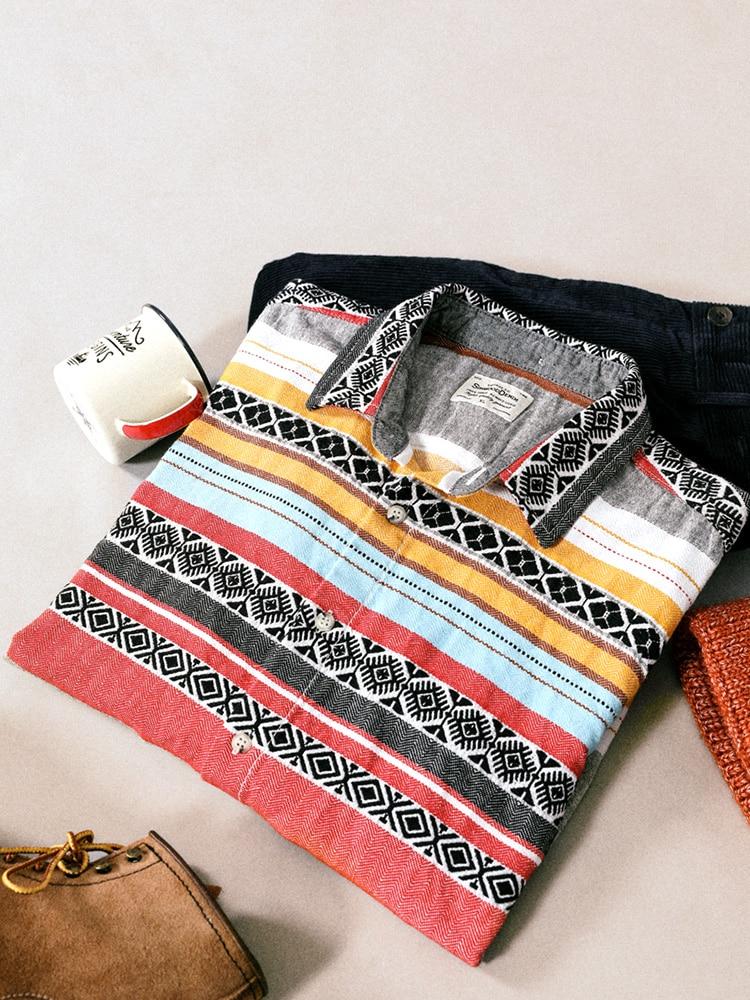 SIMWOOD 2020 Spring Winter New Pattern Print Striped Shirts Men 100% Cotton Bohemian Style Casual Shirt SI980765