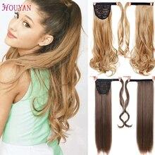 HOUYAN 24 дюймов шелк прямые синтетические женские волосы для наращивания длинные вьющиеся конский хвост высокая температура волокно клип на хвост парик